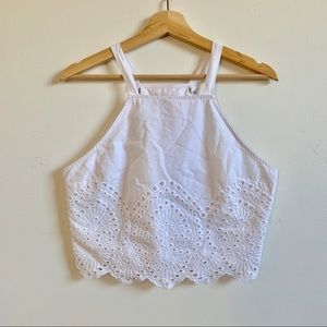 Abercrombie and Fitch White Cotton Lace Crop Top